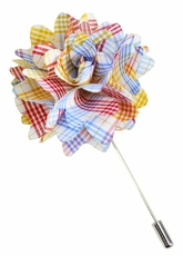 Lapel Flower . Colorful Checks