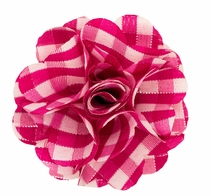 Lapel Flower . Hot Pink Plaids