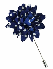 Lapel Flower . NAvy and White Dots