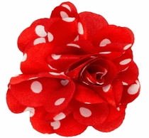 Lapel Flower . Red and White Dots