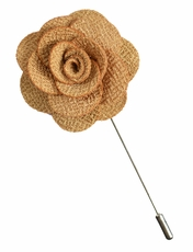 Lapel Flower . Solid Almond