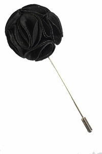 Lapel Rose . Solid Black