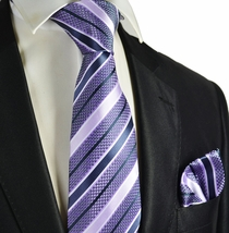 Lavender Striped Necktie and Pocket Square