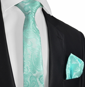 Light Aqua Paisley Men's Tie and Pocket Square