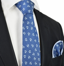 Light Blue Anchor Tie Set by Paul Malone
