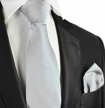 Light Silver Checked Necktie and Pocket Square