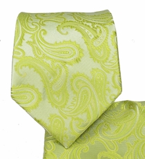 Lime Green Paisley Necktie and Pocket Square