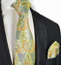 Lime Green Paisley Tie and Pocket Square