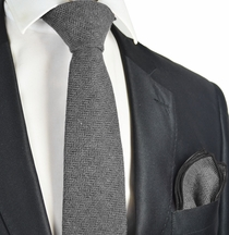 Limestone Grey Wool Tie Set by Paul Malone