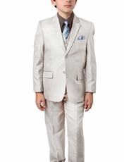 Lite Beige Sharkskin Boys Suit with Vest, Shirt and Tie Set