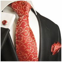 Luxurious Red & Gold Paul Malone Silk Tie Set (850CH)