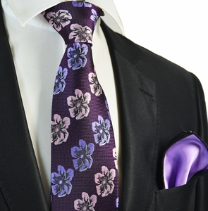 Majesty Floral Men's Tie Combo with Rolled Pocket Square