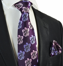 Majesty Purple Floral Men's Tie and Pocket Square Set
