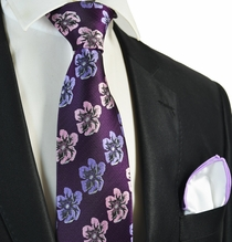 Majesty Purple Floral Men's Tie Combo with Rolled Pocket Square