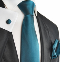 Mallard Blue Silk Men's Tie and Accessories by Paul Malone