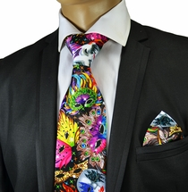 Mardi Gras Necktie and Pocket Square