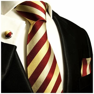 Maroon Red and Gold Paul Malone Silk Tie Set (245CH)