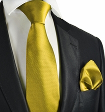 Mellow Yellow Checked Necktie and Pocket Square