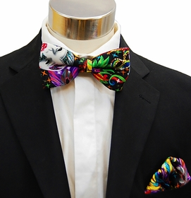 Men's Bow Tie and matching Pocket Square . Mardi Gras