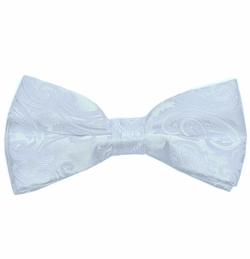 Men's Bow Tie .  White Paisley (BT20-A)