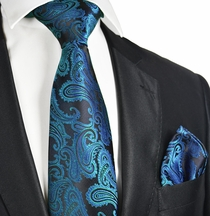 Metallic Blue Men's Tie and Pocket Square