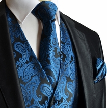 Metallic Blue Paisley Men's Vest Set
