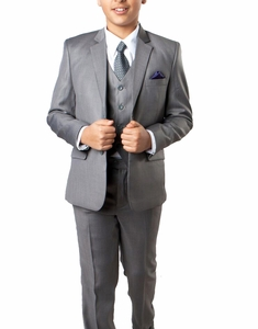 Mid Grey 5-piece Boys Suit Set with Vest, Shirt and Tie