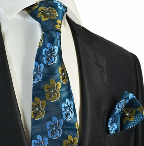 Midnight Blue Floral Men's Tie and Pocket Square Set