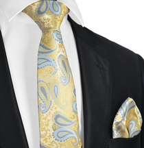Mimosa and Sky Blue Tie and Pocket Square Set