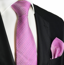 Moonlite Mauve Silk Tie and Pocket Square by Paul Malone