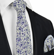 Mulled Grape Flowered Cotton Tie Set by Paul Malone
