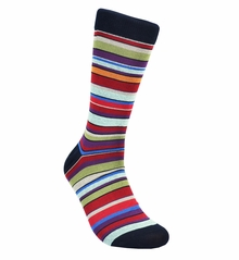 Multi Striped Cotton Dress Socks by Paul Malone