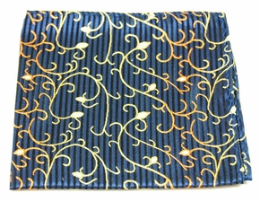 Navy and Gold Mens Silk Pocket Square (H534)
