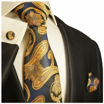 Navy and Gold Paisley Silk Tie Set by Paul Malone