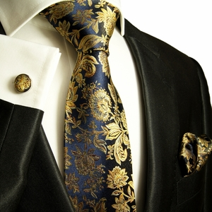 Navy and Gold Paul Malone Silk Tie Set (683CH)