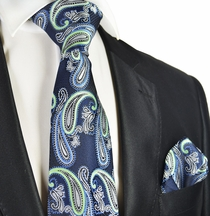 Navy and Green Paisley Tie and Pocket Square