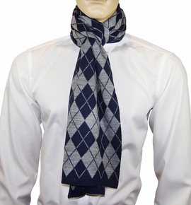 Navy and Grey Argyle Men's Scarf by Paul Malone
