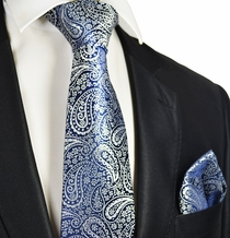 Navy and Silver Men's Wedding Tie and Pocket Square