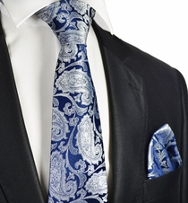 Navy and Silver Wedding Tie and Pocket Square