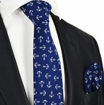 Navy Blue Anchor Tie Set by Paul Malone