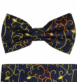 Navy Blue and Gold Bow Tie and Pocket Square Set by Paul Malone