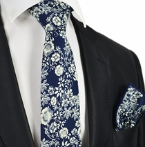 Navy Blue and White Floral Tie Set by Paul Malone
