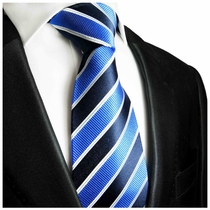 Navy, Blue and White Paul Malone Silk Necktie  (454)