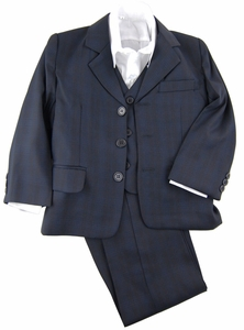 Navy Blue Boys Suit with Vest and Dress Shirt . Checkered