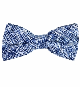 Navy Blue Cotton/Linen Bow Tie by Paul Malone Red Line