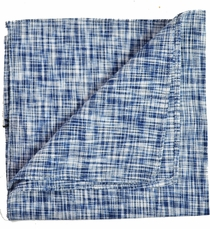 Navy Blue Linen/Cotton Pocket Square by Paul Malone