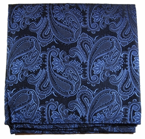 Navy Blue Paisley Silk Pocket Square (H518)