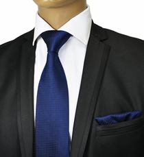 Navy Blue Silk Tie Set by Paul Malone