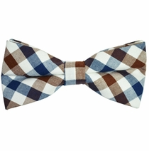 Navy, Brown and White Cotton Bow Tie by Paul Malone