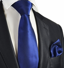 Navy Micro-checked Necktie and Pocket Square